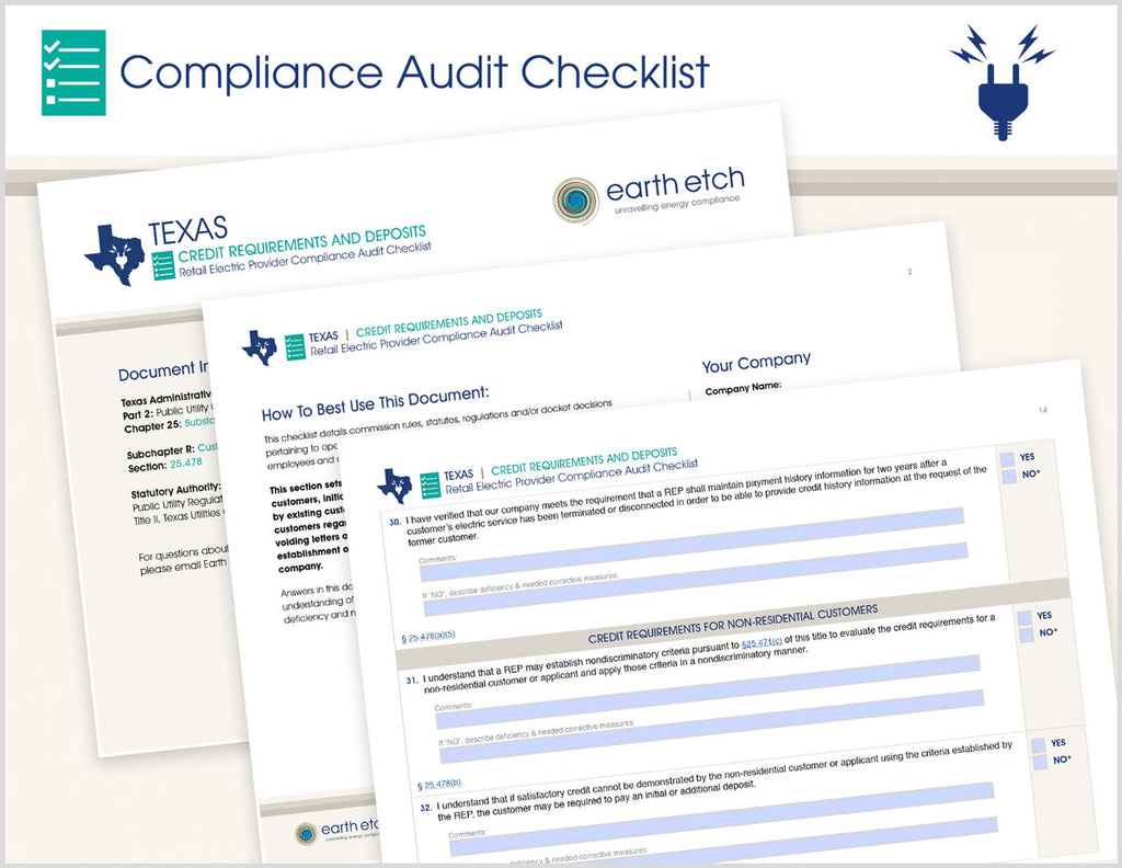 Texas Credit Requirements and Deposits - § 25.478 – Compliance Audit Checklist (Electric)