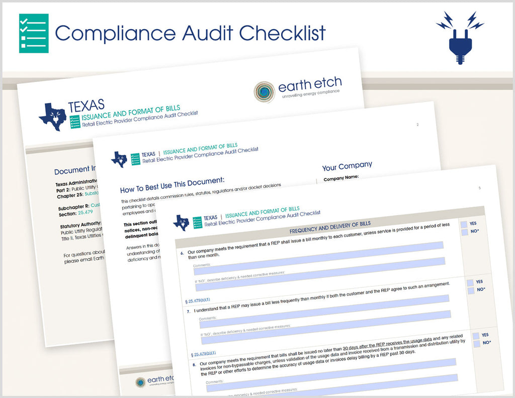 Texas Issuance and Format of Bills - § 25.479 – Compliance Audit Checklist (Electric)