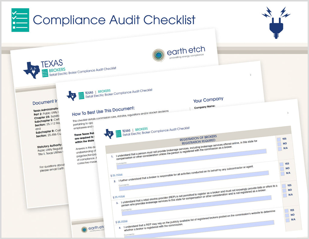 Texas Retail Electric Broker Compliance Audit Checklist (Electric)