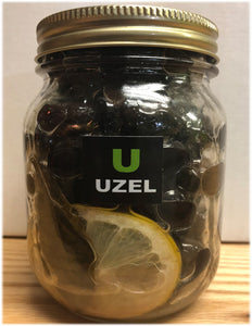 Gemlik Black Pearl olives Marinated with fresh bay leaf ,olive oil ,Natural Lemon ( Net Weight 390-400 gr)