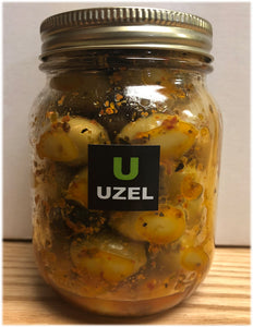 MEDLEY - Selected Green olives Marinated with Red Maras Pepper Flakes,Olive Oil ,Oregano,Lemon  ( Net Weight - 390-400 gr )