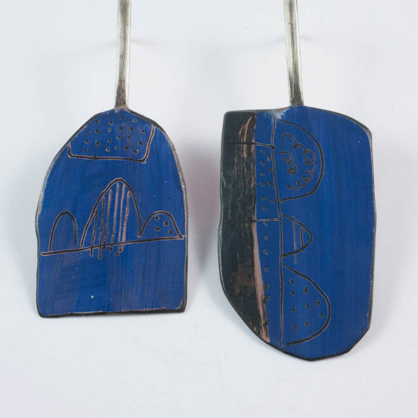 Apron earrings; blue, long