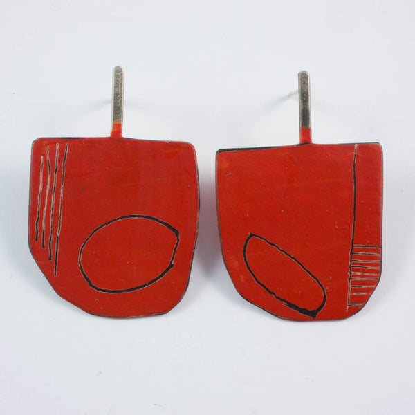 Apron earrings;  large, red