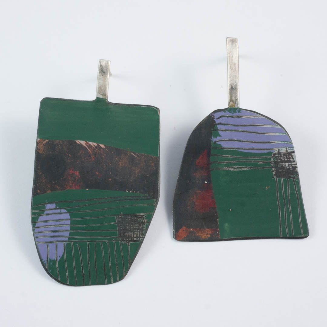 Apron earrings; green/purple