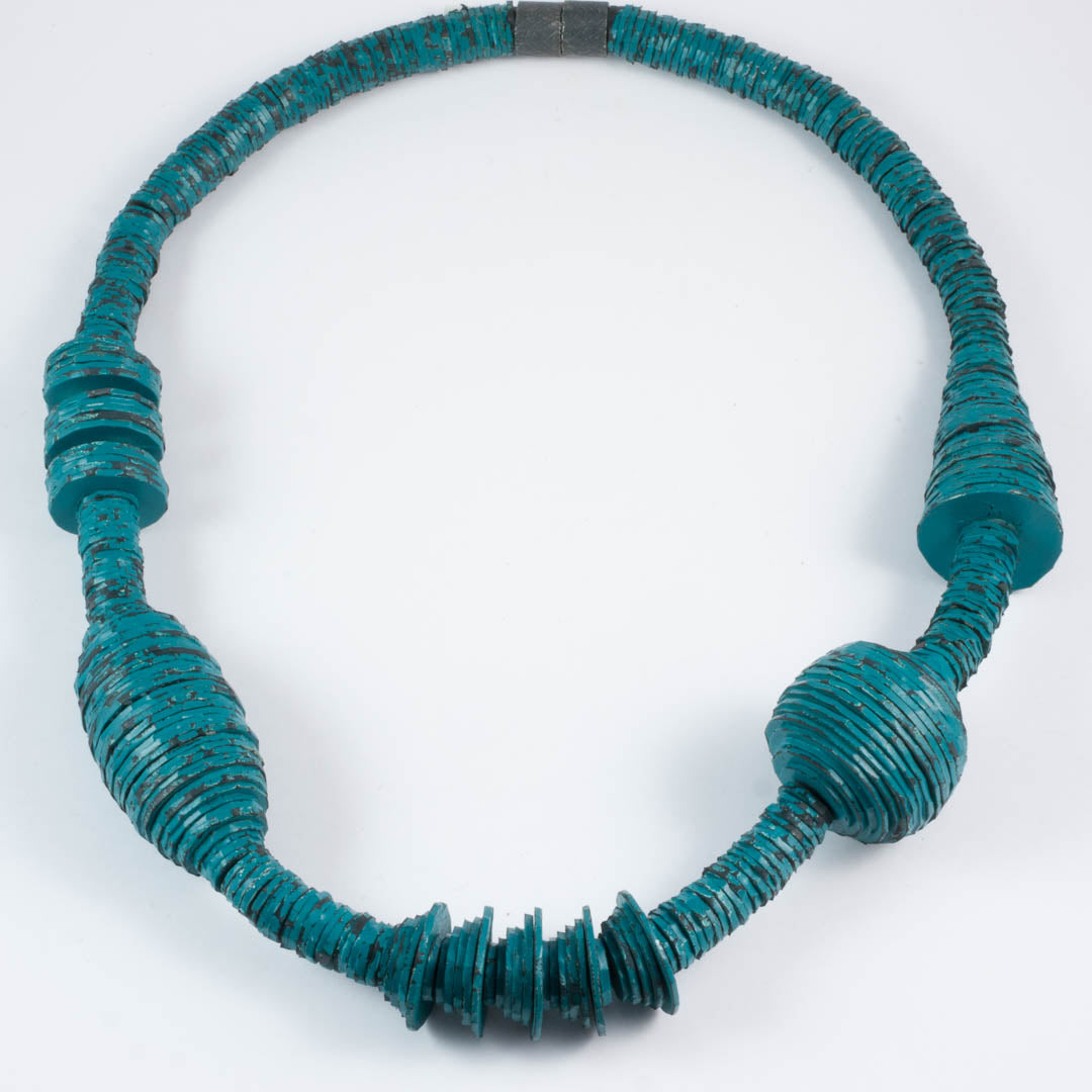 Spool necklace, short, teal