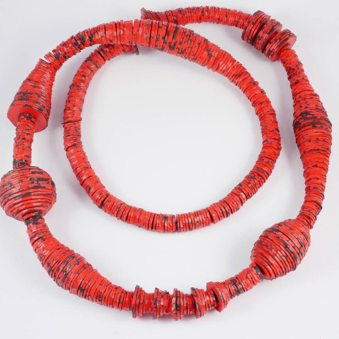 Spool necklace, long, red