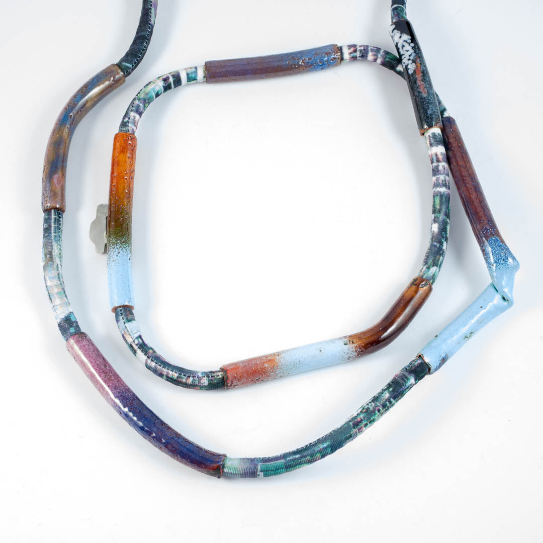 Pipe necklace; blue/brown NC13