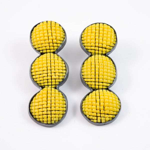 Bubble earrings, yellow x3