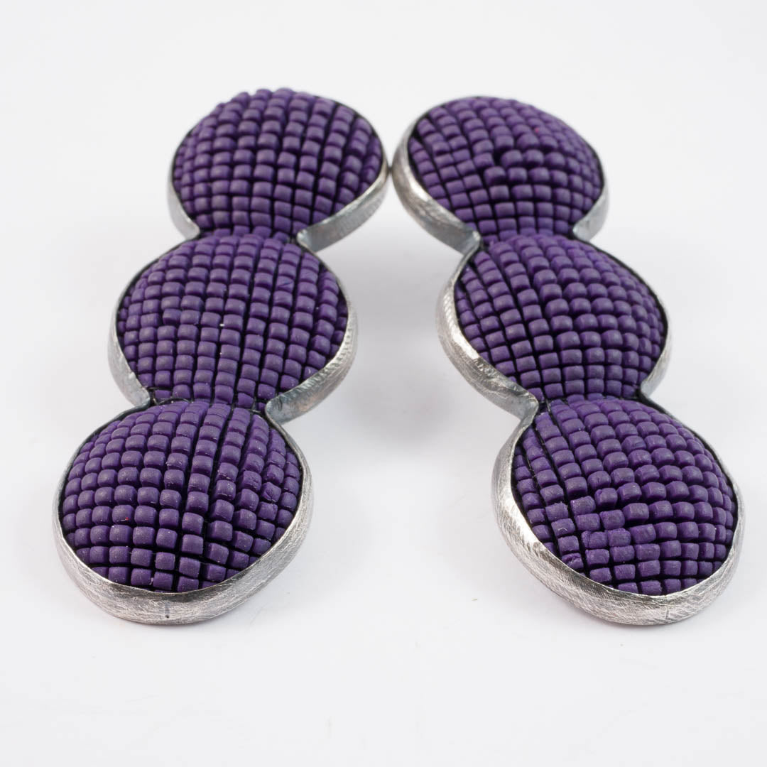 Bubble earrings, purple x3