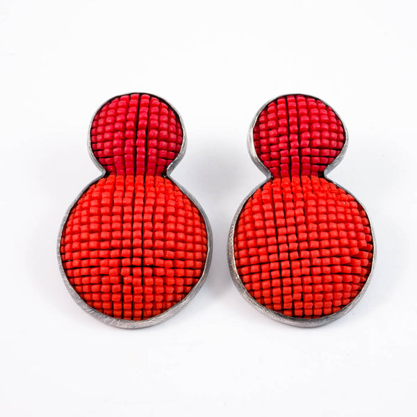 Bubble earrings,  orange with red top