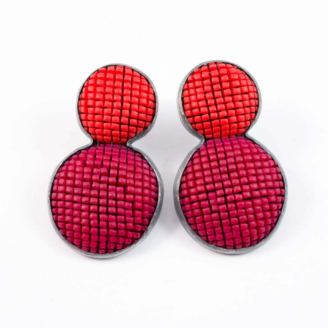 Bubble earrings, red with orange top
