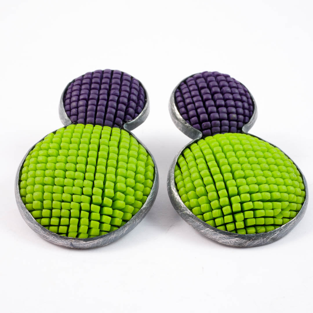 Bubble earrings, lime with purple top