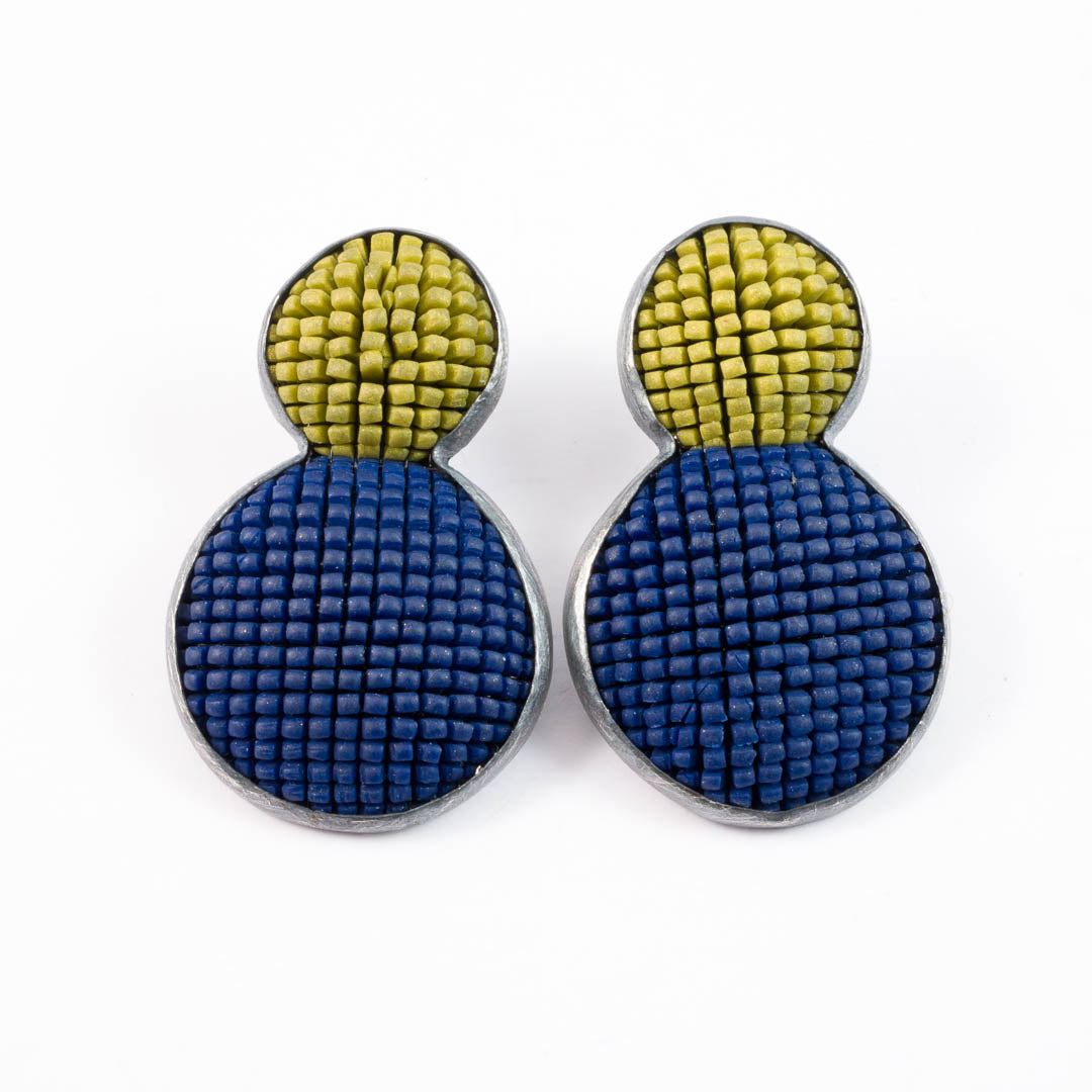 Bubble earrings, navy with gold top