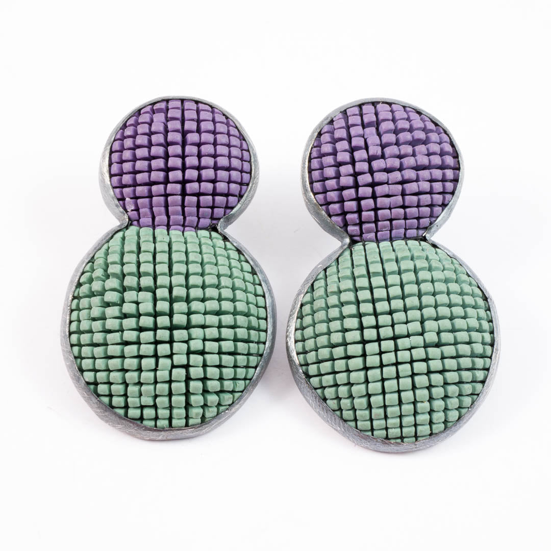 Bubble earrings, olive with mauve top