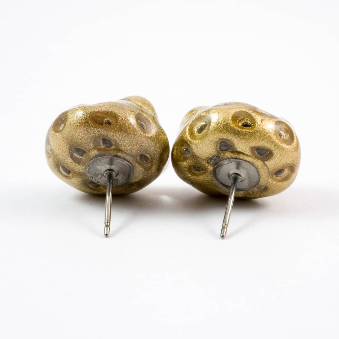 Gold Moon Rock stud earrings