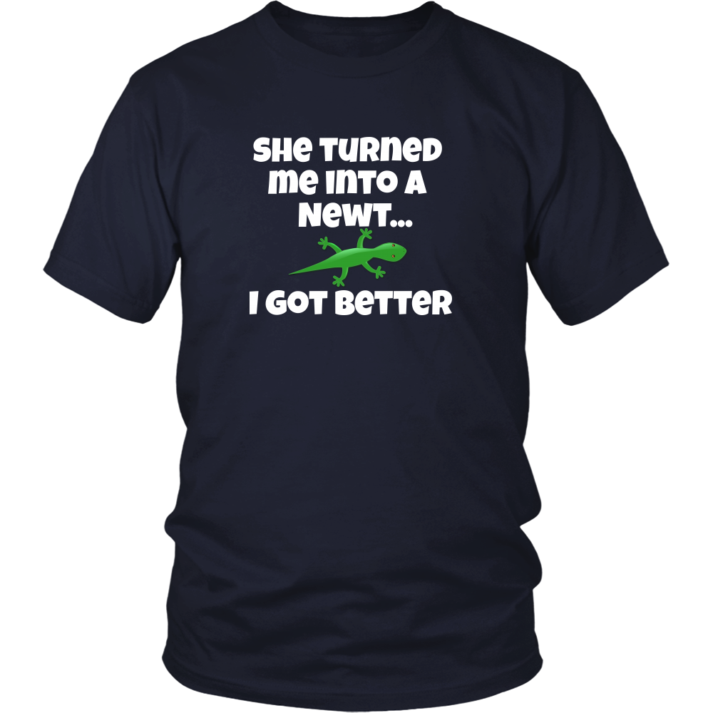 She Turned Me Into A Newt Unisex T-Shirt - 'Monty Python and the Holy Grail'