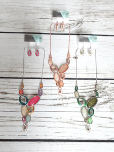 Stone Drop Necklace and Earrings Set