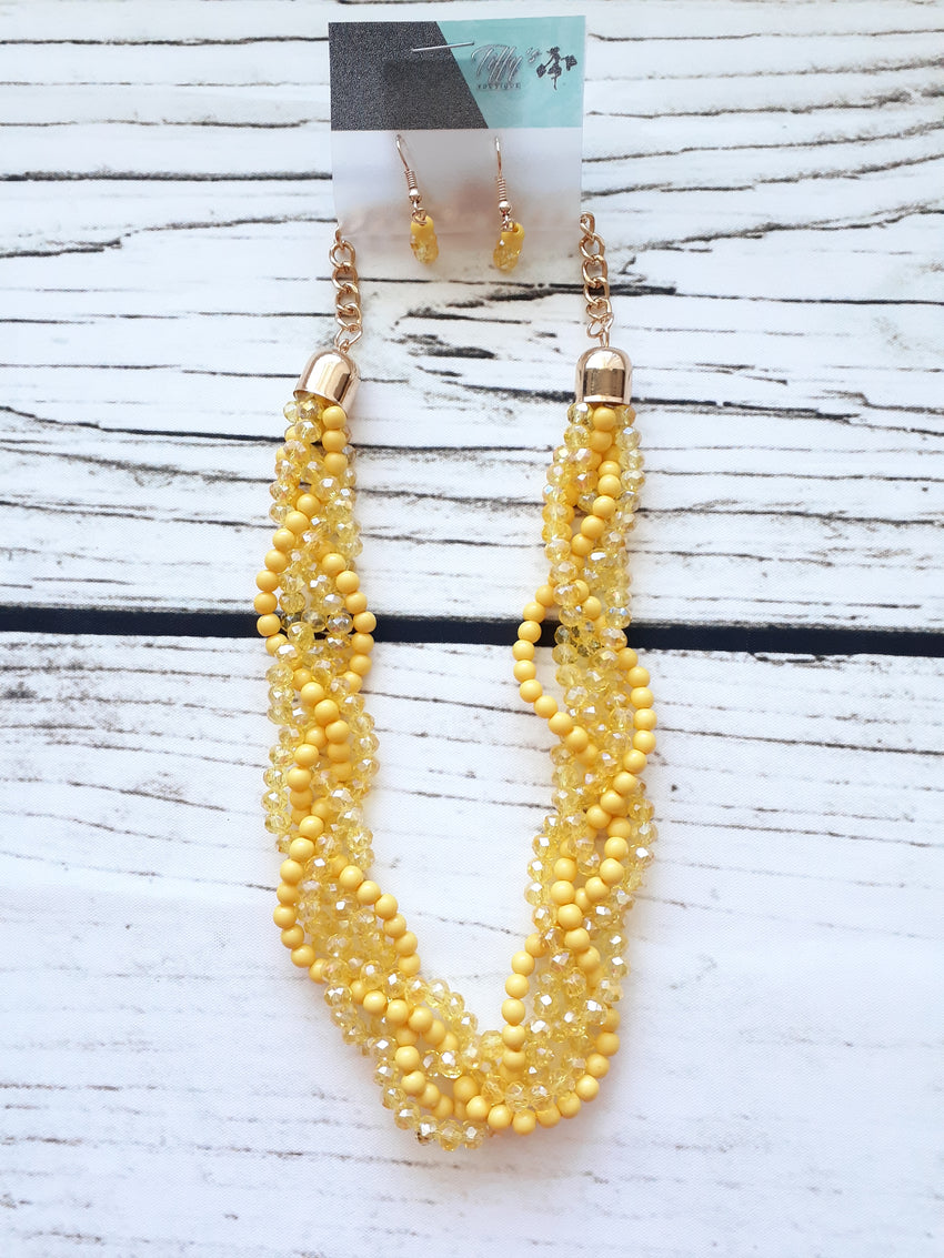 Lemon Twist Necklace and Earrings Set