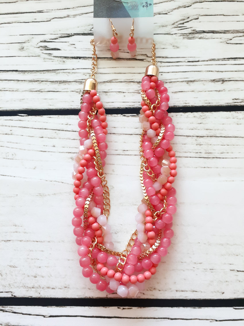Pink Salmon and Chain Braid Necklace and Earrings Set