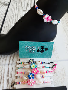 Tropical Flower and Shell Anklet