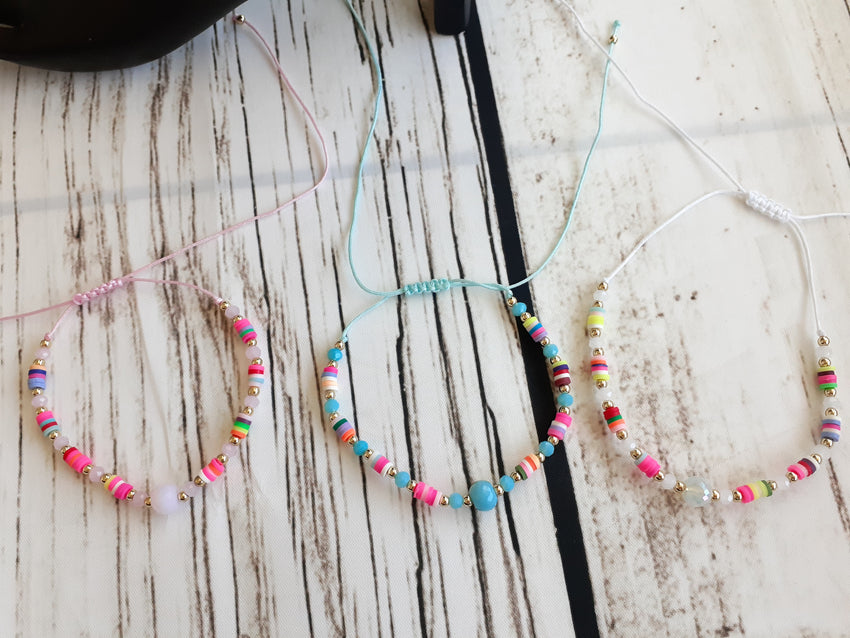 Multi Colored Bead Anklet