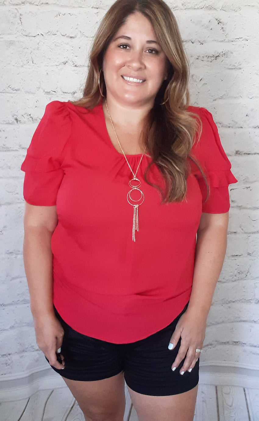 Solid Red Flutter Sleeve with Necklace