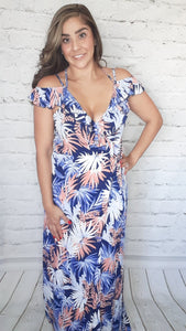 Tropical Sunset Maxi Wrap Dress