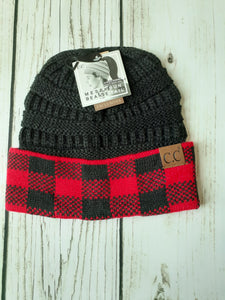 C.C. Ponytail Beanie with Plaid Cuff