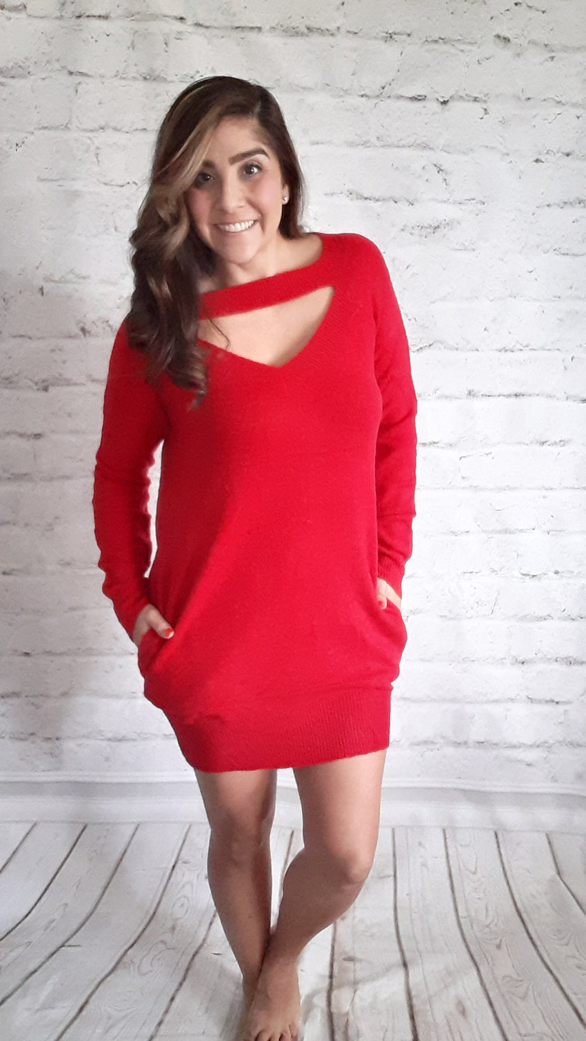 Lady in Red Sweater Dress