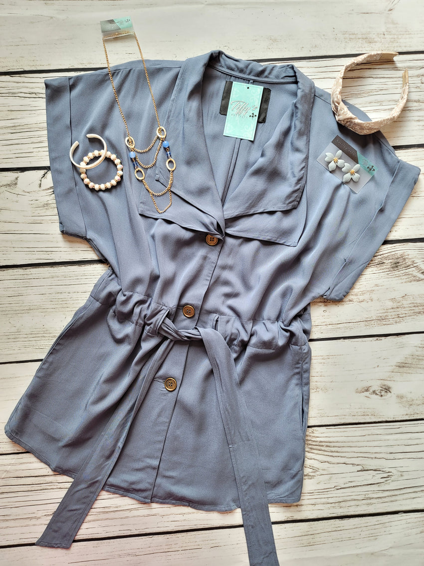 Steel Blue Relaxed Fit Tunic Top