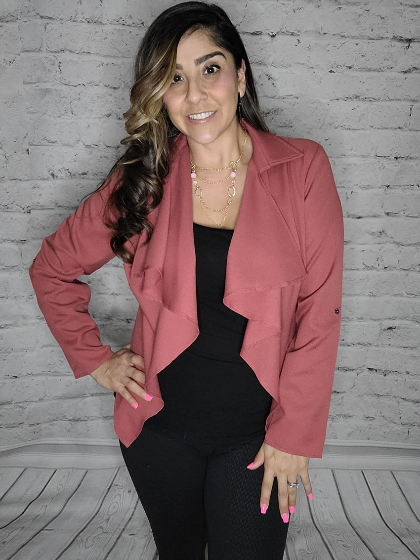 Tailored Draped Rose Blazer