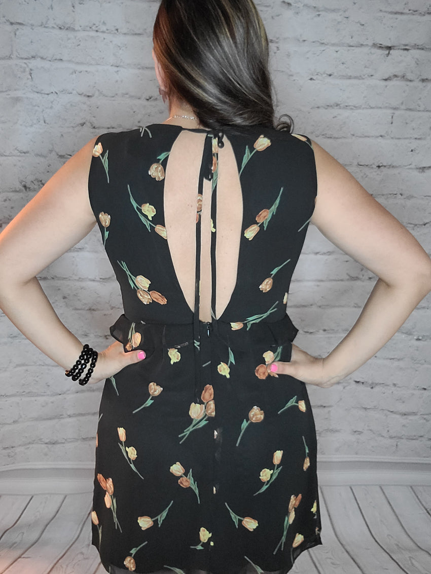 Very V Black Floral Dress