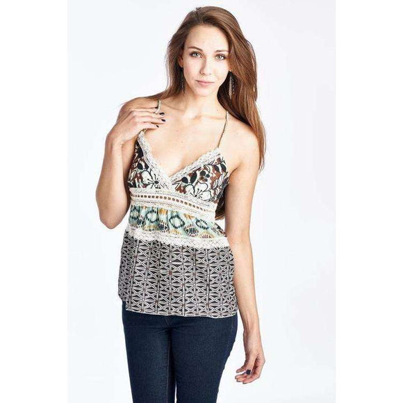 [the_nomadic_attic]:Women's Spaghetti Strap Floral Pattern Top with