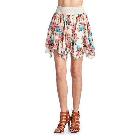 [the_nomadic_attic]:Women's Printed Floral Skirt with Elastic Lace