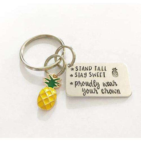 Inspirational keychain - Pineapple keychain - The Nomadic Attic