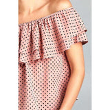[the_nomadic_attic]:Women's Double Ruffle Off Shoulder Polka Dot Top