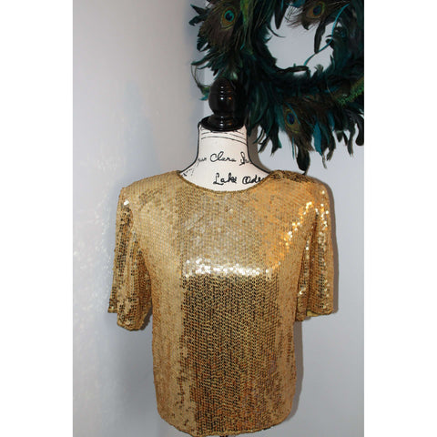Authentic Vintage Gold Sequin Top from the 70's-Claudia Barnes - The Nomadic Attic