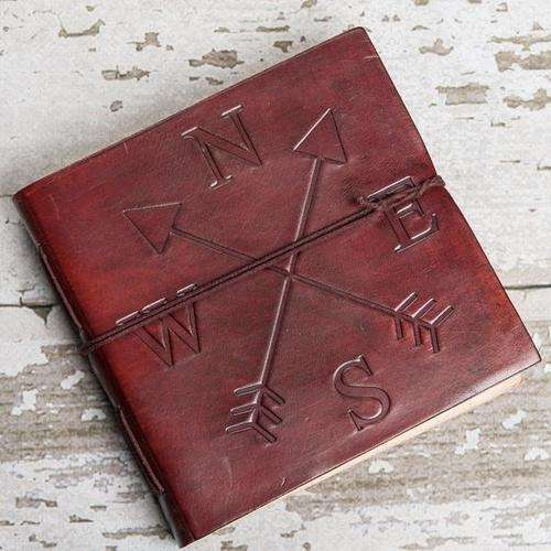 Directions Square Handmade Leather Journal - The Nomadic Attic