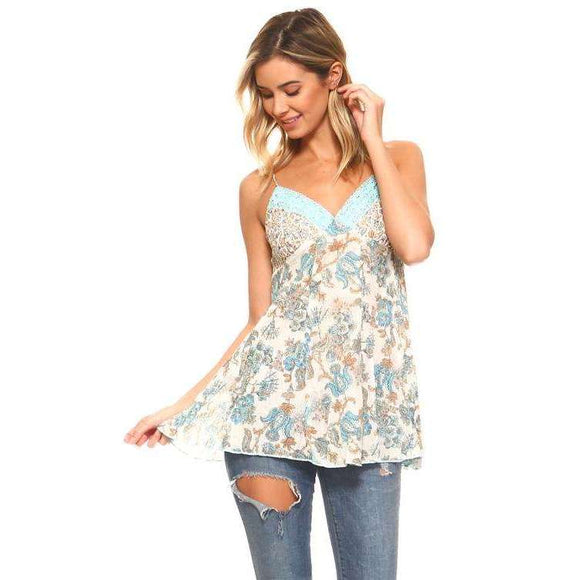 Women's Woven Gauze Sequin Lace Tank Cami - The Nomadic Attic