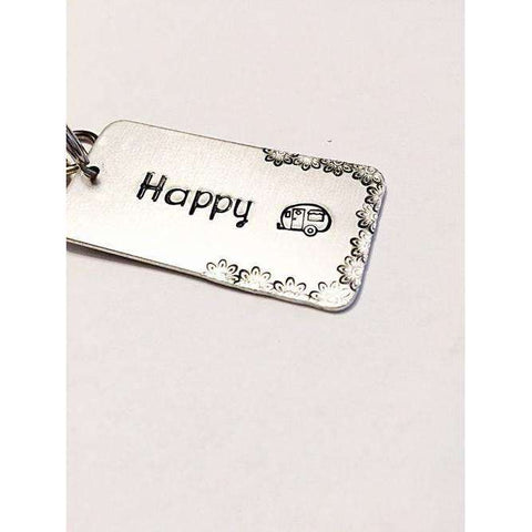 Happy Camper Hand stamped key chain - - The Nomadic Attic