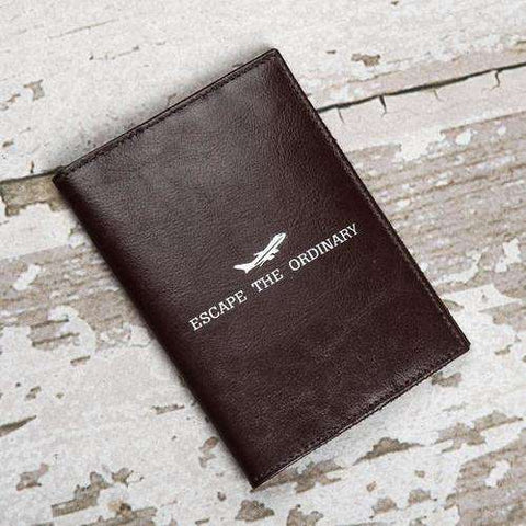 """Escape The Ordinary"" Genuine Leather Passport - The Nomadic Attic"