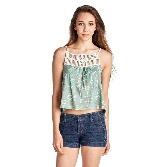 [the_nomadic_attic]:Women's Aztec Printed Jersey Crochet Tank