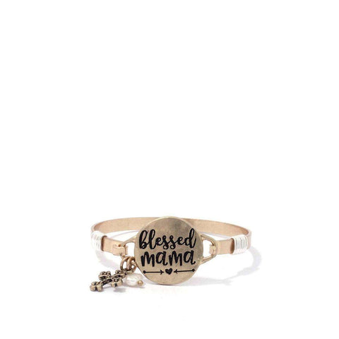 """Blessed Mama"" Engraved Metal Bracelet - The Nomadic Attic"