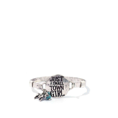 """Just A Small Town Girl"" Engraved Metal Bracelet - The Nomadic Attic"