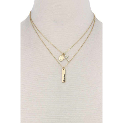 """blessed"" Engraved Metal Bar Cross Charm Multi Layered Necklace - The Nomadic Attic"