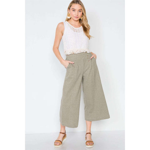 [the_nomadic_attic]:Knit Side Button Wide Leg Ankle Pants