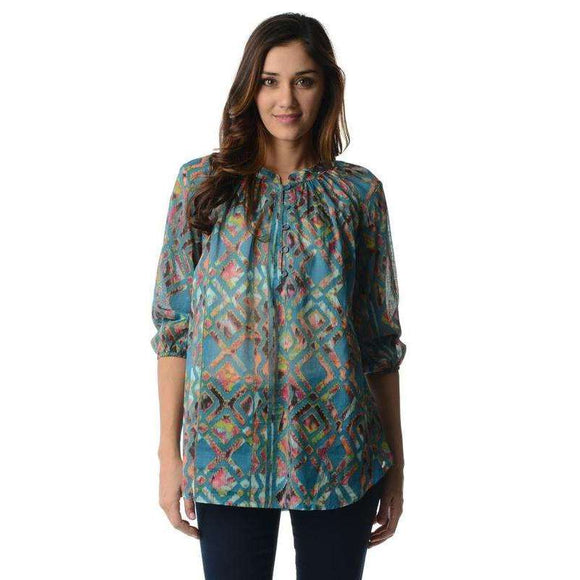 Women's 3/4 Sleeve Printed Chiffon Top - The Nomadic Attic