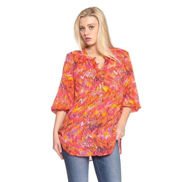 Women's 3/4 Sleeve Printed Chiffon Button Top - The Nomadic Attic