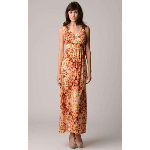 [the_nomadic_attic]:Women's V-Neck Printed Jersey Empire Waist Maxi