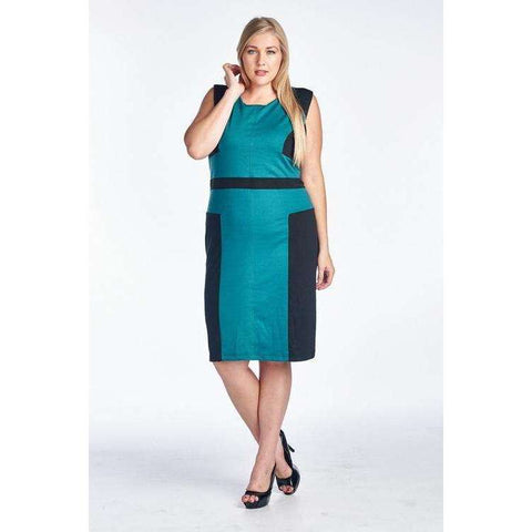 [the_nomadic_attic]:Women's Plus Size Sleeveless Sheath Dress